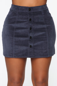 On My Level Corduroy Mini Skirt - Navy Angle 2