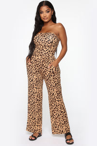 Farrah Tube Jumpsuit - Brown Leopard Angle 1