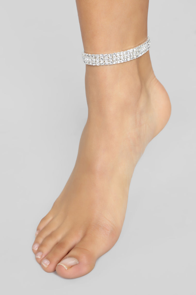 Walking With Diamonds Anklet - Silver
