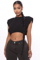 Livin' Large Shoulder Pad Top - Black
