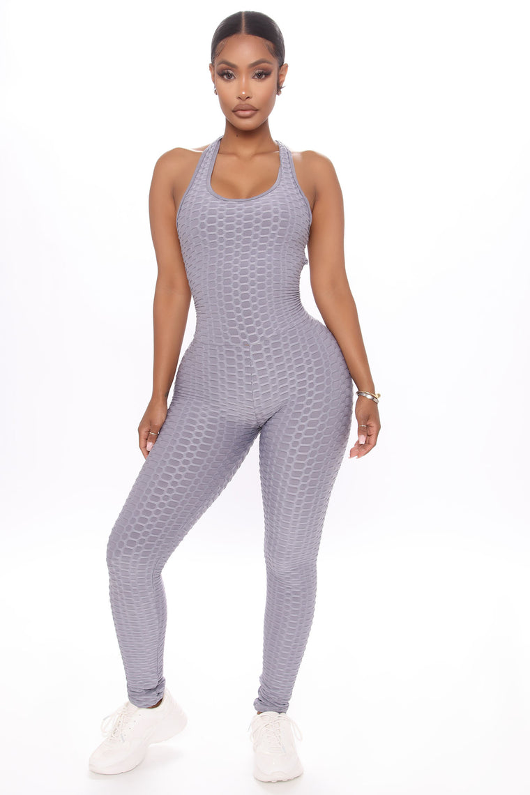 You Still Cross My Mind Textured Active Jumpsuit - Grey