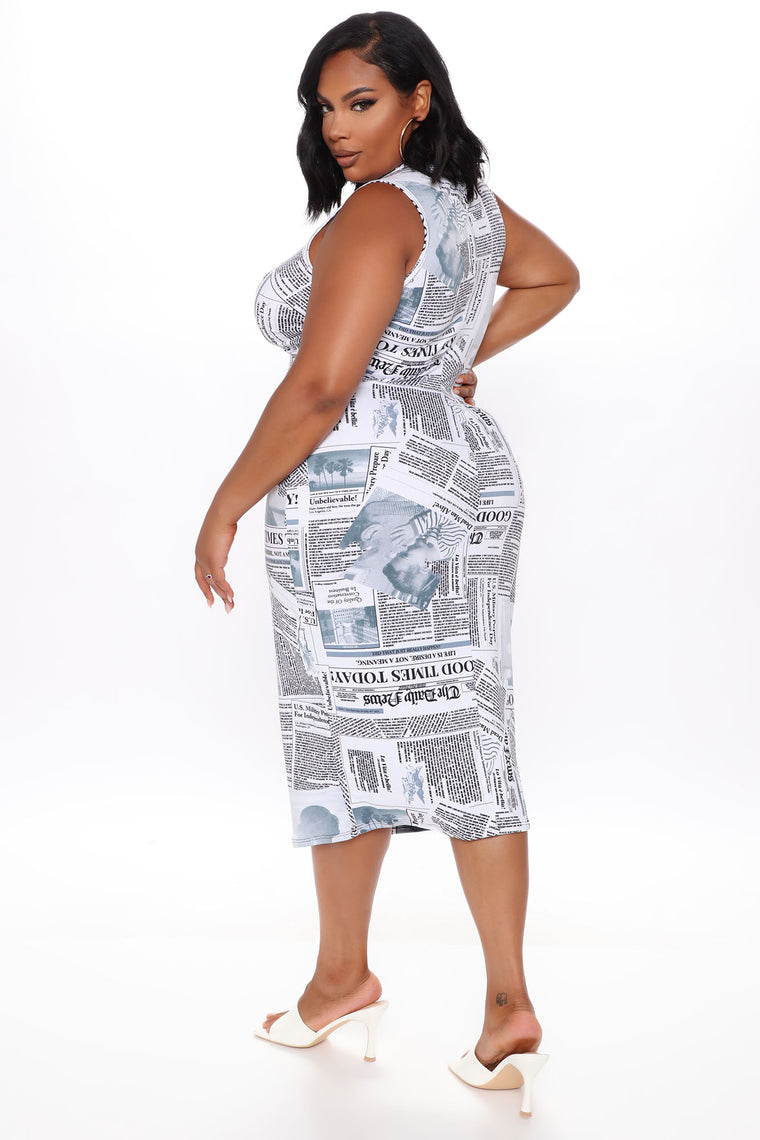 Read About Me II Newspaper Print Midi Dress - White/Black