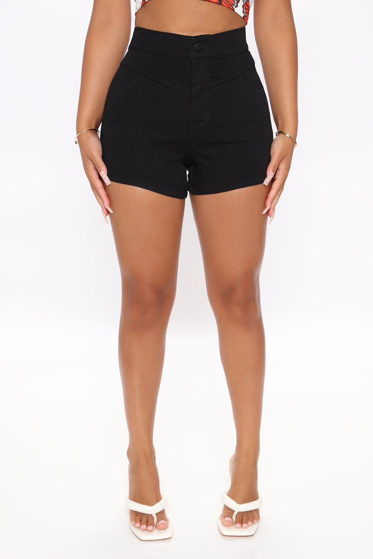 Pull Me In Denim Shorts - Black