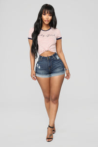 Getting Lucky High Rise Distressed Shorts - Dark Denim