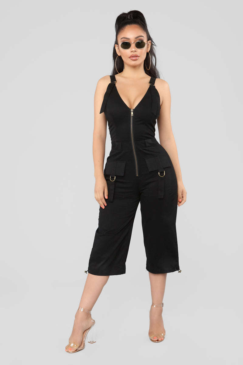 Major General Cargo Romper - Black