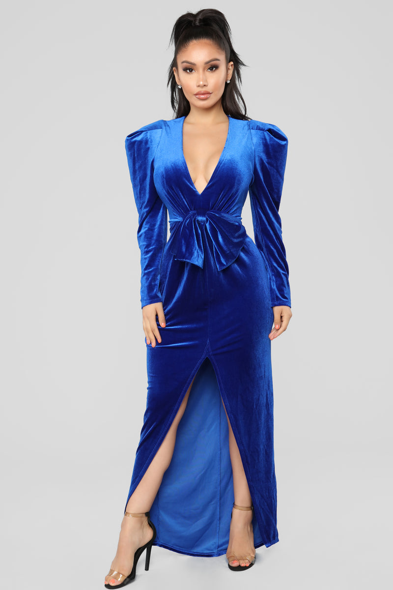 I Slay Velvet Dress - Royal