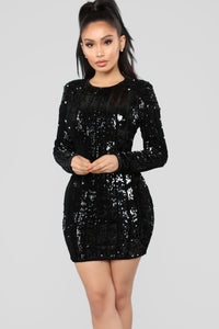 She's A Show Off Sequin Dress - Black