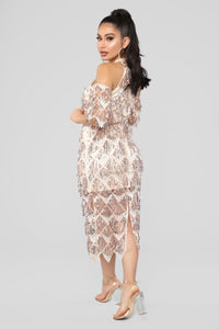 Diamond In The Rough Sequin Dress - RoseGold