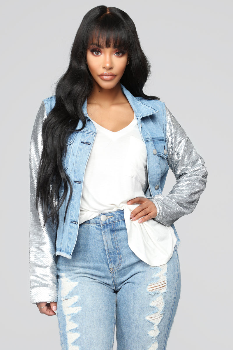Sequin Walk Denim Jacket - Light Wash