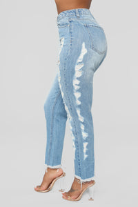 I'II Drink To That Mom Jeans - Medium Blue Wash