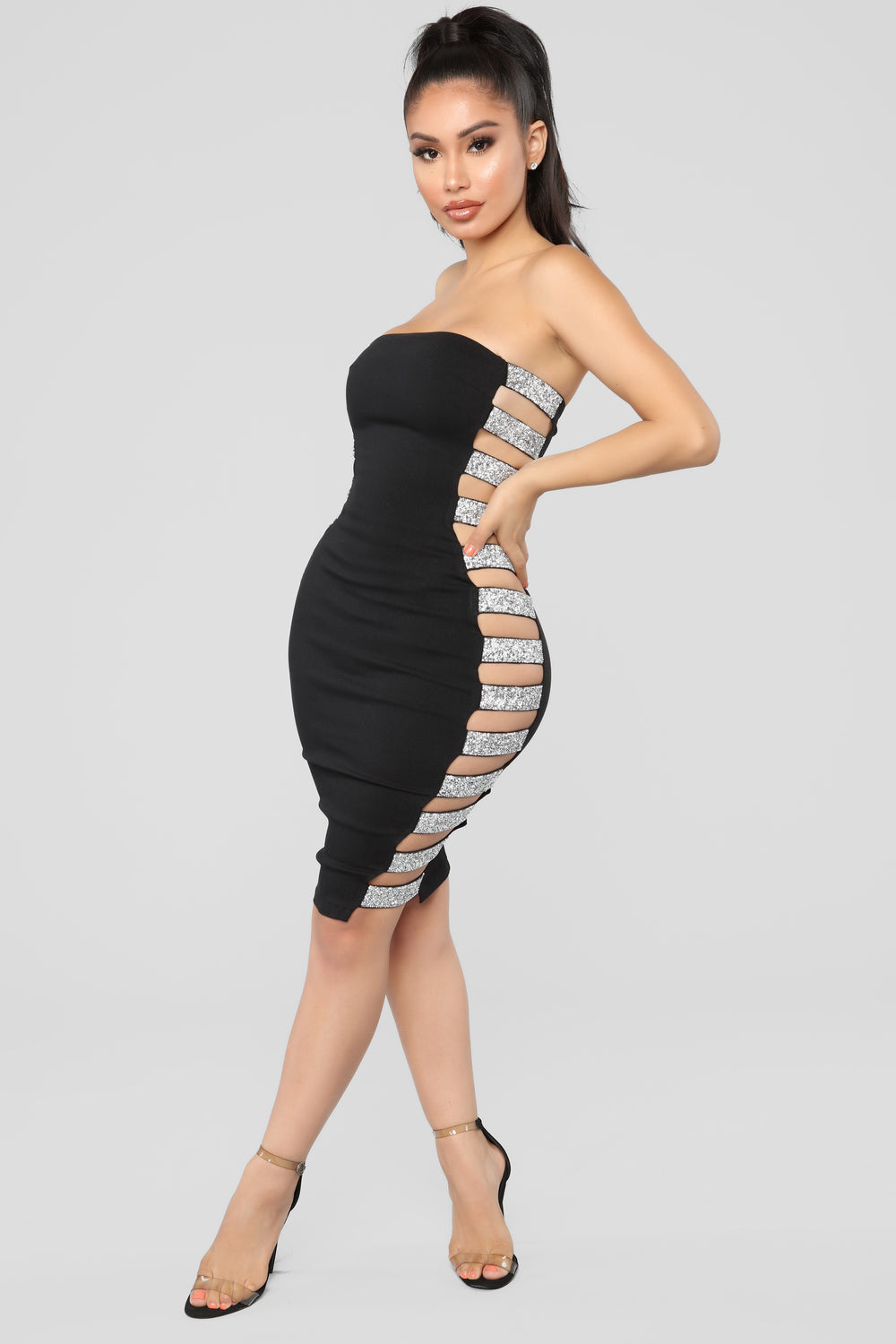 Shower Me With Jewels Midi Dress - Black/Silver