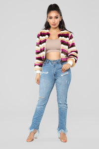 Multi Stripe Fur Bomber - Tan/Multi