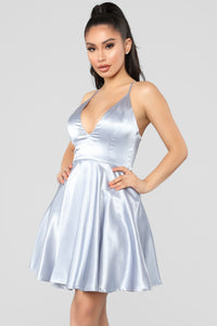 Party Perfection Flare Dress - Grey