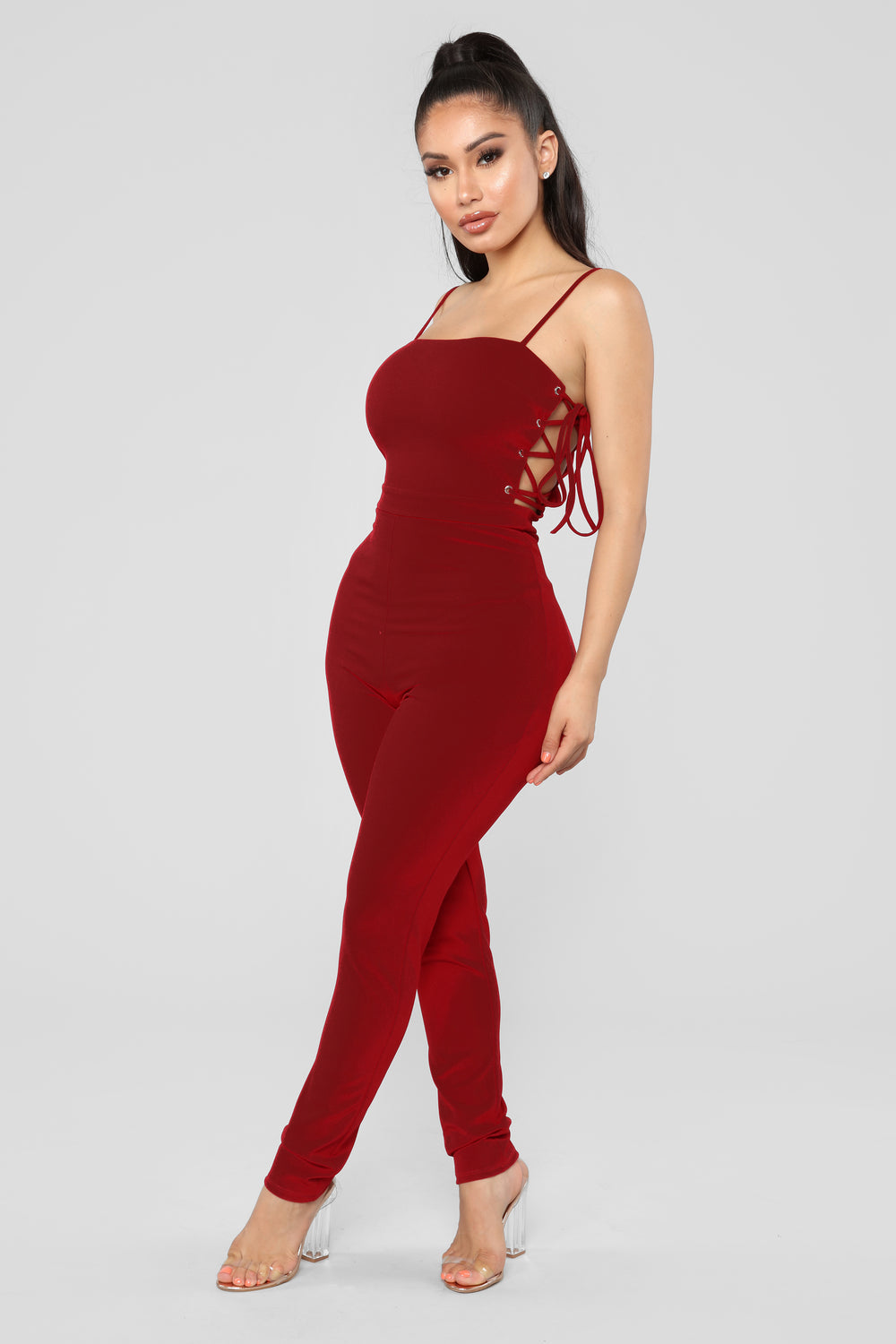 Jealous Of Her Lace Up Jumpsuit - Wine