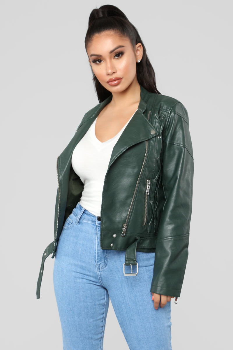 French Mole Moto Jacket - Green