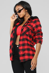 Doing Work Flannel Top - Red/combo