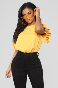 Forever My Ruffles Top - Mustard