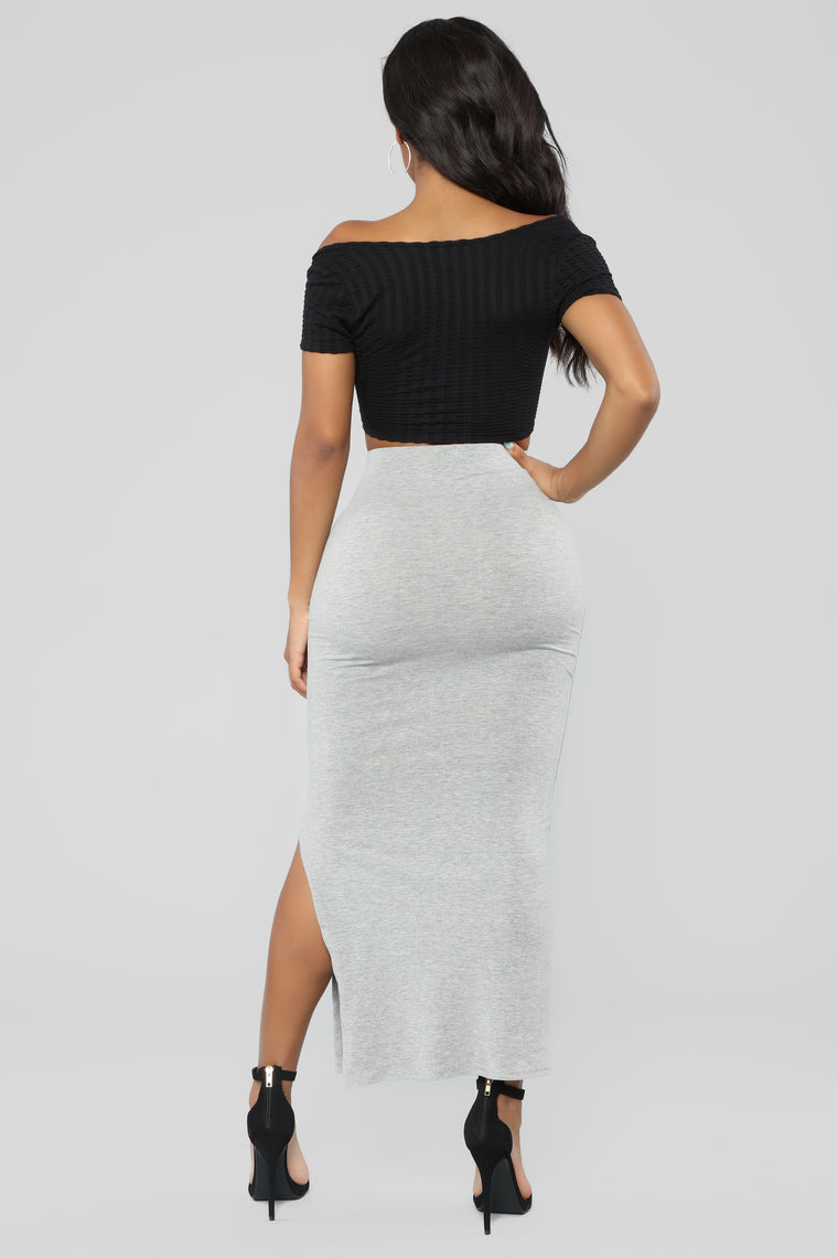 Every Side Slit Skirt - Heather Grey