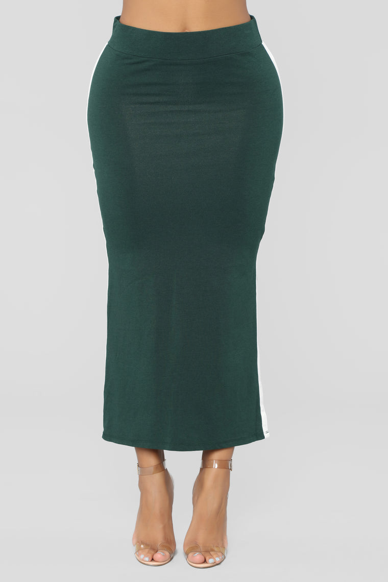 Alessia Side Slit Skirt - Green