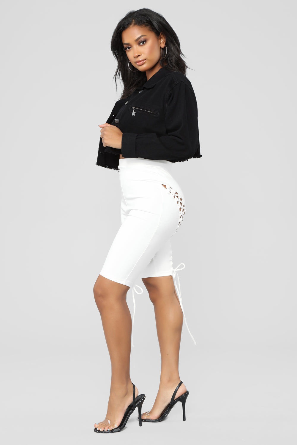 Kecia Lace Up Shorts - White