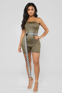 Caught You Looking Romper- Olive