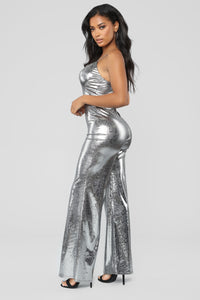 Best Life Metallic Jumpsuit - Silver
