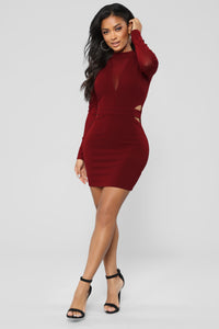 Go Slow Mesh Dress - Burgundy