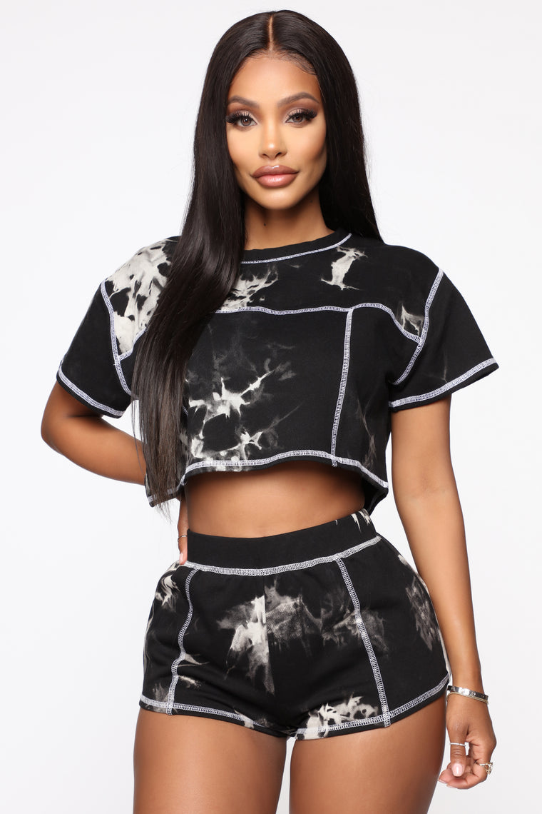 Groovy Vibes Short Set - Black/White