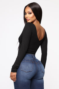 Brighten The Night Ribbed Bodysuit - Black
