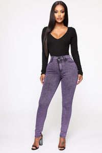 Slow It Down High Rise Skinny Jeans - Purple