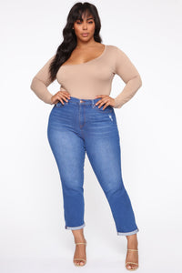 Need A New High Rise Mom Jeans - Light Blue Wash Angle 7