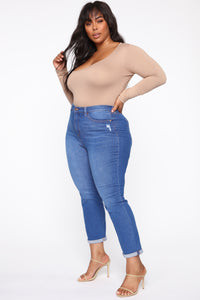 Need A New High Rise Mom Jeans - Light Blue Wash Angle 9