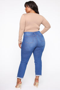 Need A New High Rise Mom Jeans - Light Blue Wash Angle 12