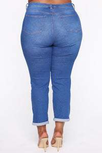 Need A New High Rise Mom Jeans - Light Blue Wash Angle 11
