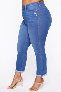 Need A New High Rise Mom Jeans - Light Blue Wash Angle 10