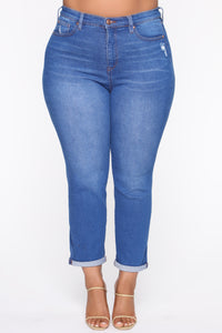 Need A New High Rise Mom Jeans - Light Blue Wash Angle 8