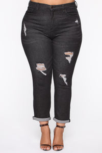 Need A New High Rise Mom Jeans - Black Angle 8