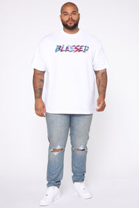 Blessed Tie Dye Short Sleeve Tee - White/combo Angle 7