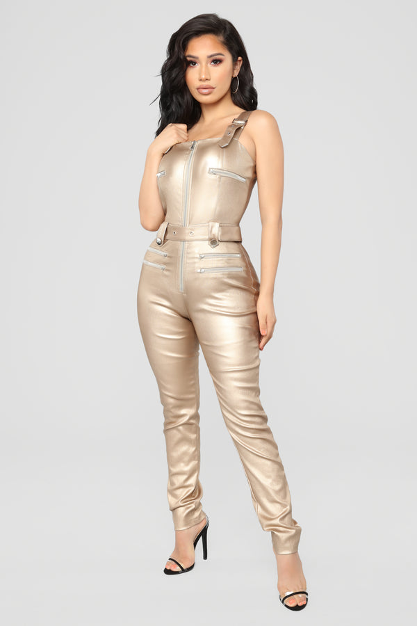 7dc69a2bf33 Hunt You Down Overall Jumpsuit - Metallic