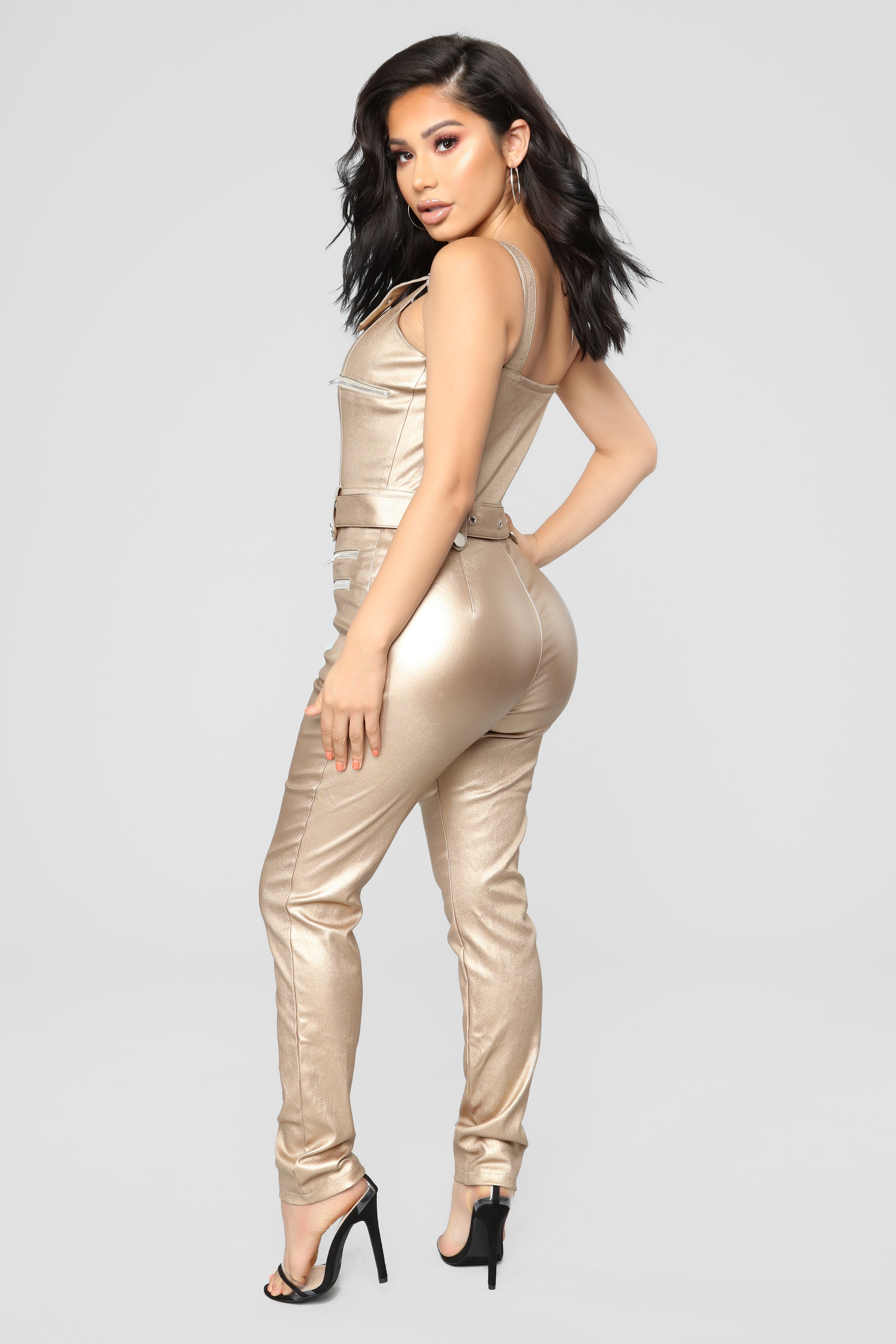 5e3e6a0009c Hunt You Down Overall Jumpsuit - Metallic
