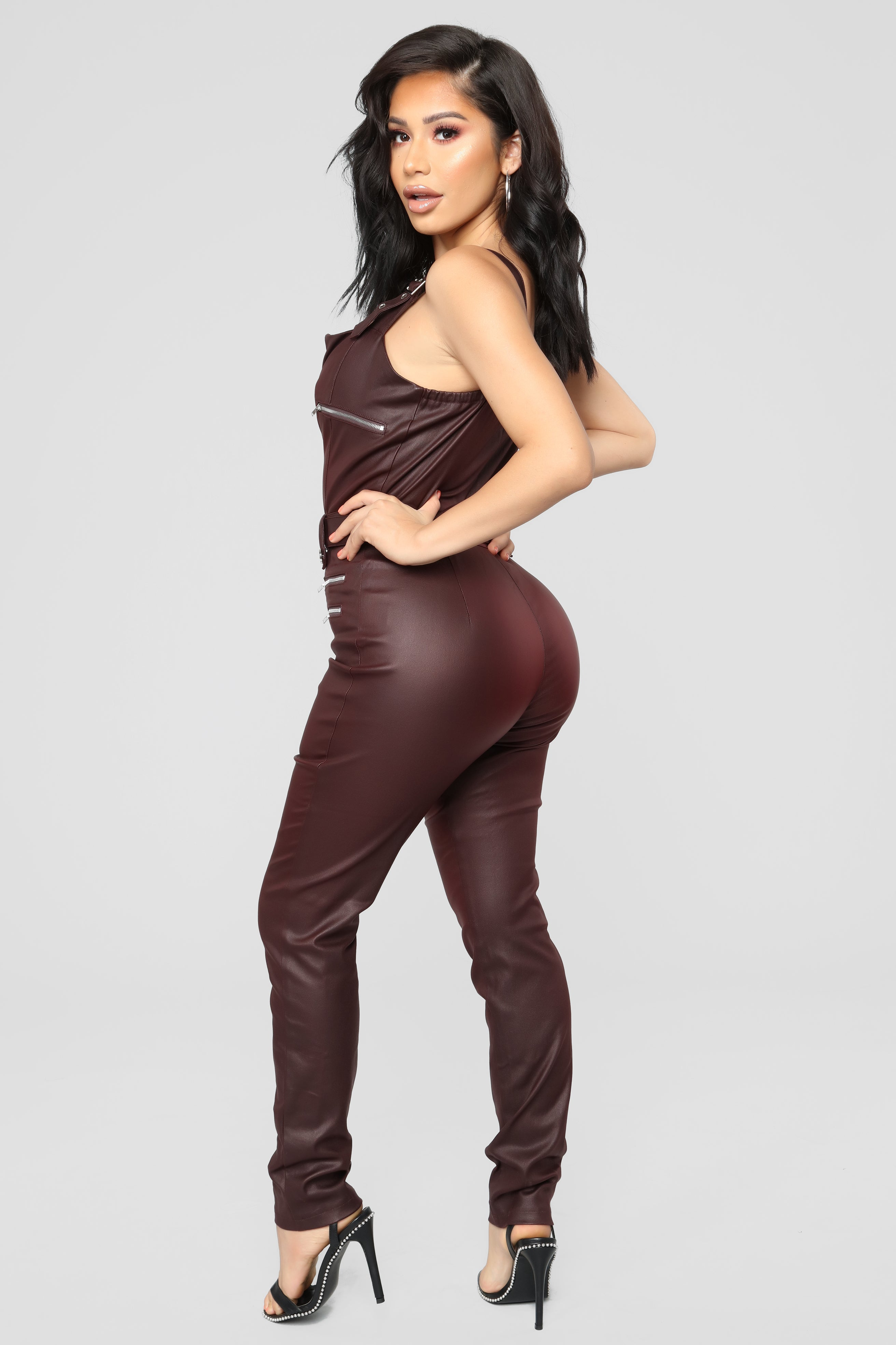 98aa25b7e927 Hunt You Down Overall Jumpsuit - Burgundy