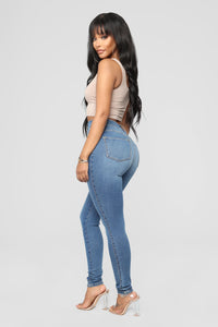 Dare Devil High Rise Skinny Jeans - Medium Blue Wash Angle 3