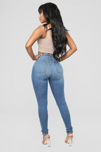 Dare Devil High Rise Skinny Jeans - Medium Blue Wash Angle 5