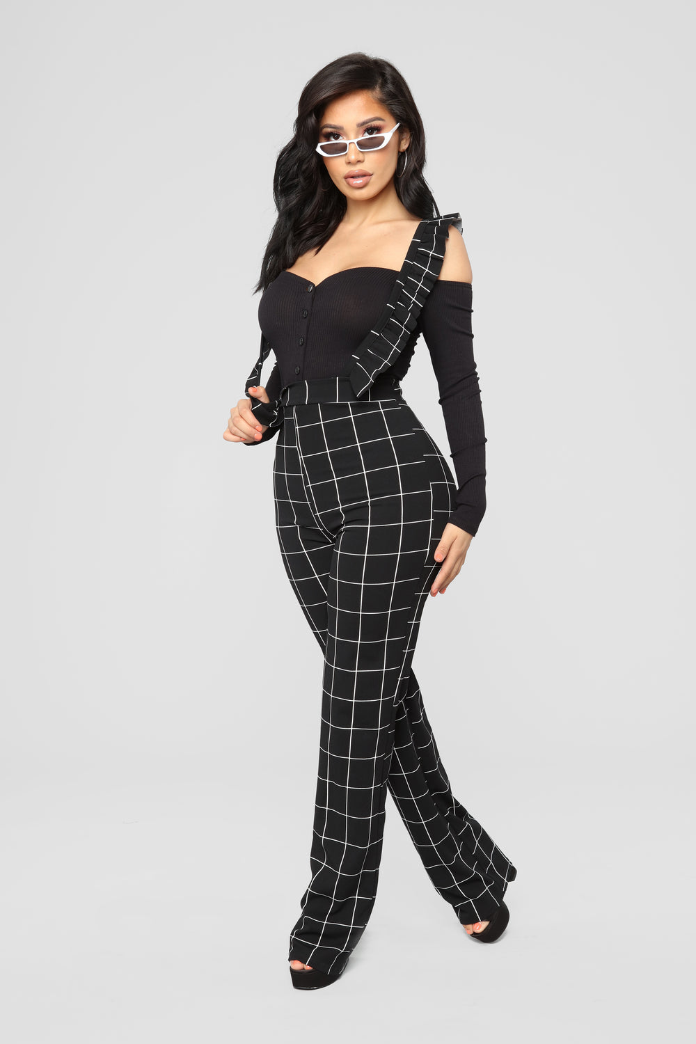 She's All Talk Overall Jumpsuit - Black