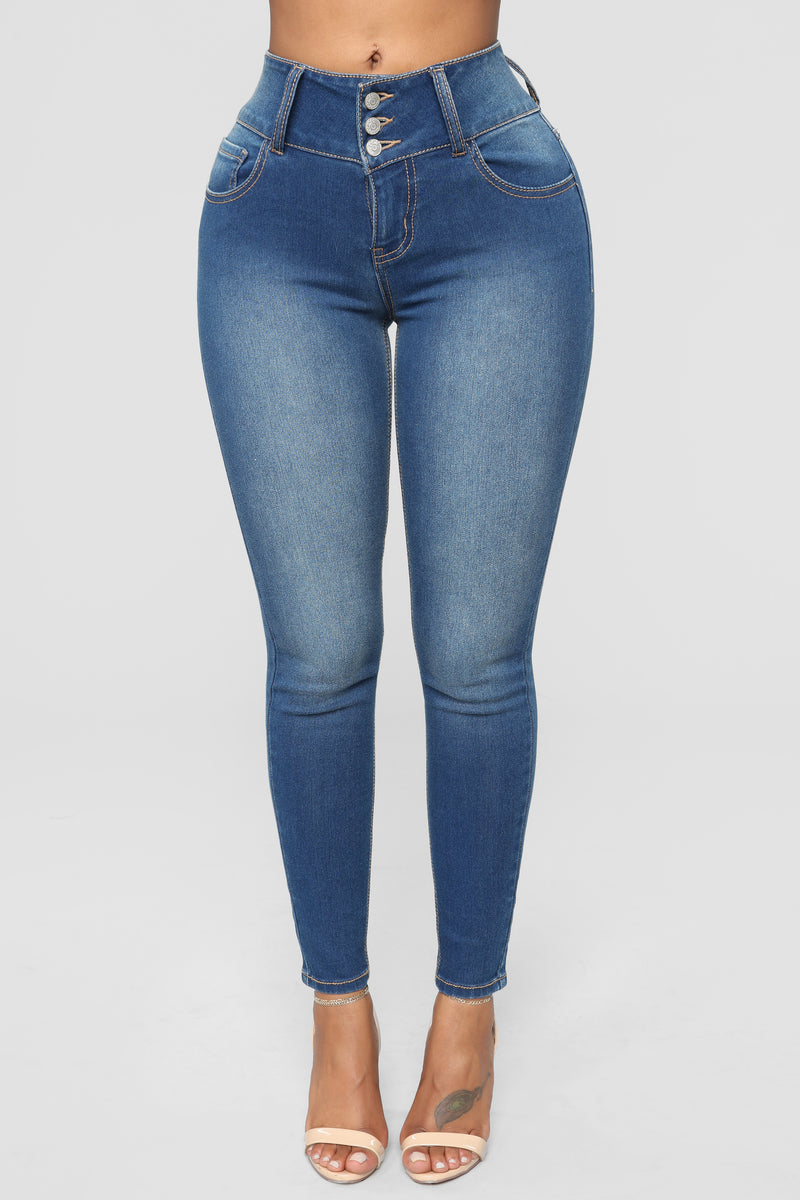 Out With The Girls High Rise Jeans - Medium Blue Wash