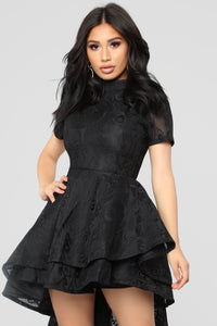 On The Verge Ruffle Dress - Black