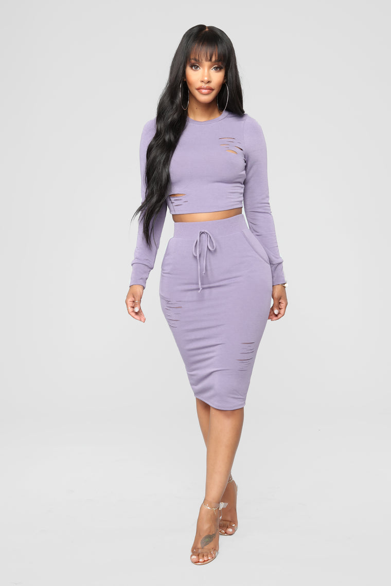 Casual Lover Midi Skirt - Lavender