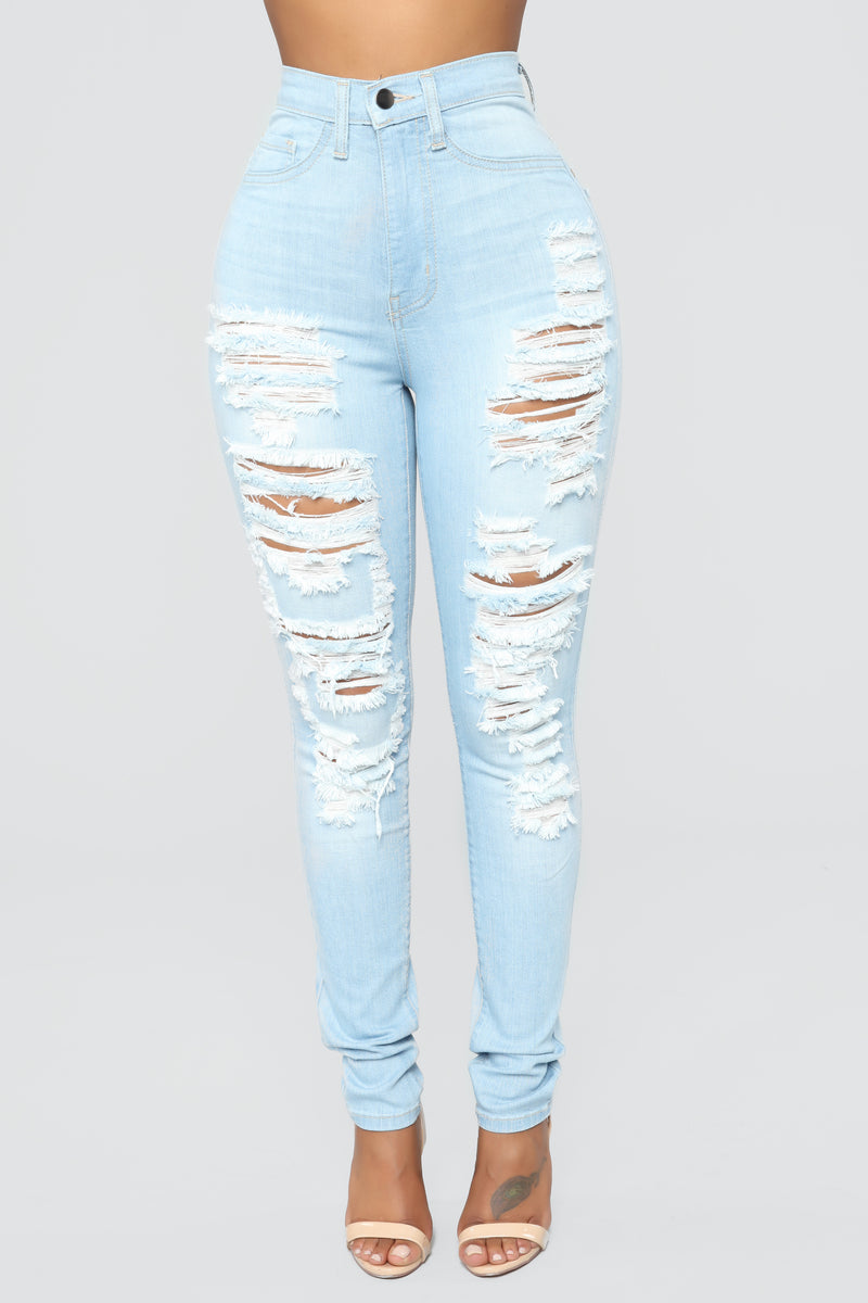 Top Of The World Distressed Jeans - Light Blue Wash