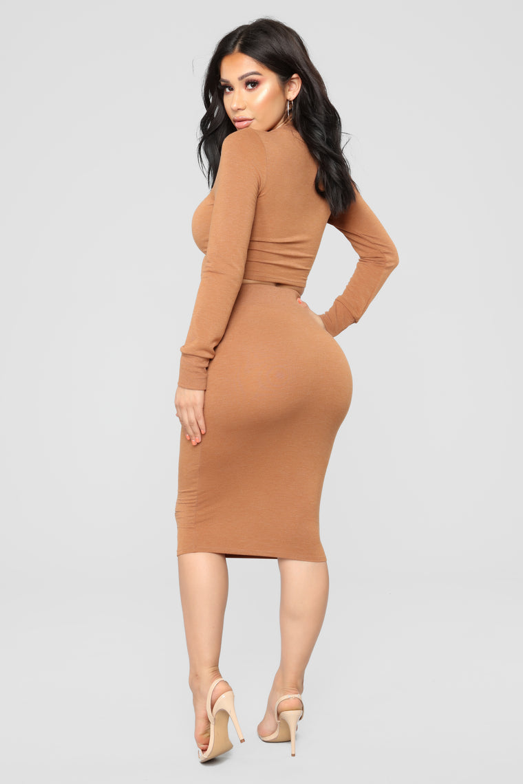 Casual Lover Midi Skirt - Copper
