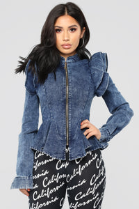 Denim Queen Peplum Jacket - Medium Blue Wash